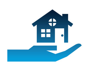 hand with house building silhouette icon