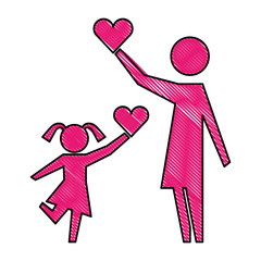 mother and daughter with hearts silhouette icon