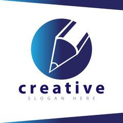 Pencil in circle logo icon vector template