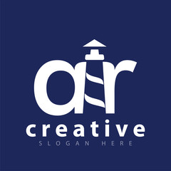 AR initial letter with lighthouse logo icon vector template