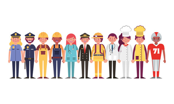 group of workers characters