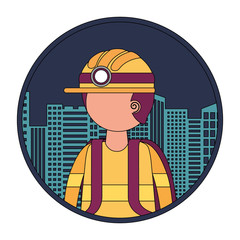 firefighter with cityscape character