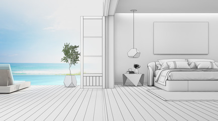 Wall Mural - Sea view bedroom of luxury summer beach house with double bed near wooden floor terrace and swimming pool. Empty white frame on wall in vacation home or holiday villa. Hotel interior 3d illustration.