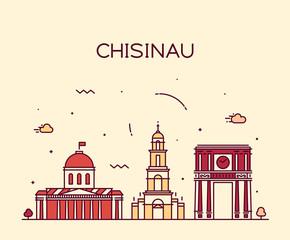 Fototapete - Chisinau skyline, Moldova vector linear style city
