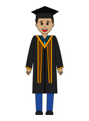 graduate man with graduation robe