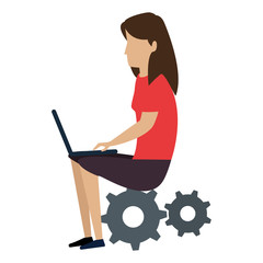 young woman working with laptop in gears