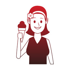 Woman with ice cream red lines