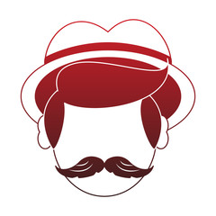 Irish man head with mustache and hat red lines