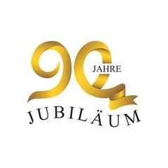 90 JUBILÄUM JAHRE ribbon number gold