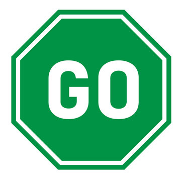 go sign on white background. flat style. green go sign for your web site design, logo, app, UI. go traffic symbol. hexagonal green go sign.