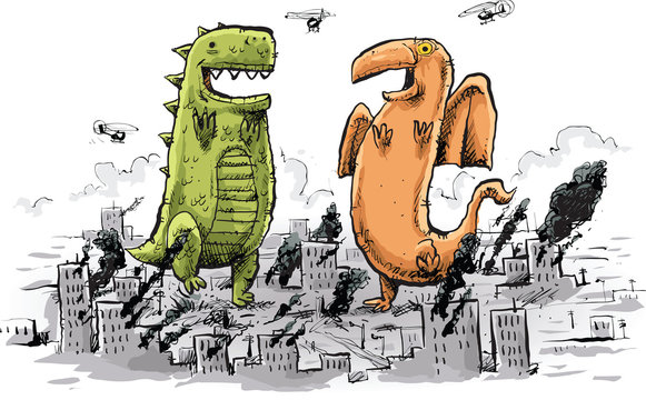 Cartoon of two giant monsters dancing happily in the wreckage of a destroyed city.