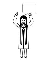 happy graduate woman with speech bubble