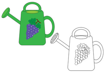 watering can colorful and in black and white colors, coloring page. Vector illustration.