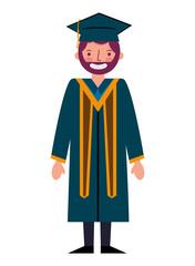 graduate man with graduation robe and cap