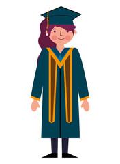 graduate woman in graduation robe and cap
