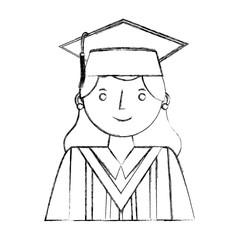 smiling graduate woman portrait character