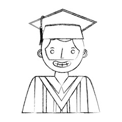 happy graduate man portrait character