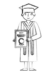 graduate man with graduation robe holds certificate
