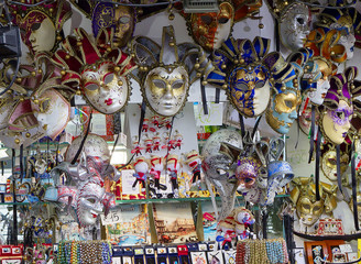 Venice, Italy, Venetian masquerade masks. The Venetian mask is a traditional symbol of the annual Venetian carnival.