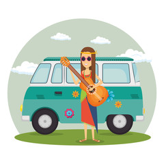 woman hippie with guitar lifestyle character