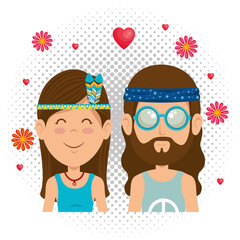couple hippies lifestyle characters