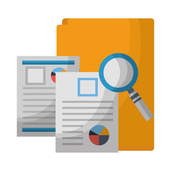office folder documents file magnifying glass