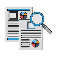 financial business report papers and magnifying glass