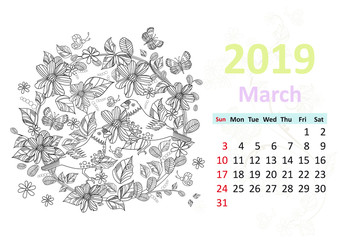 Happy coloring page. Calendar for 2019, march