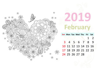 Happy coloring page. Calendar for 2019, february