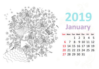 Happy coloring page. Calendar for 2019, january