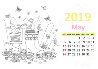Happy coloring page. Calendar for 2019, may