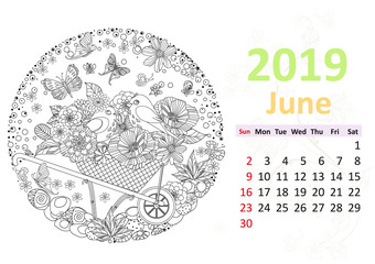 Happy coloring page. Calendar for 2019, june