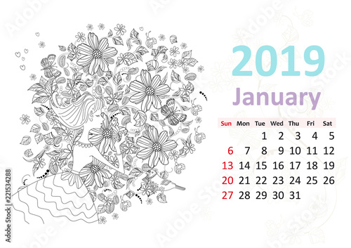 Calendar January 2019 Coloring Pages Happy coloring page. Calendar for 2019, january