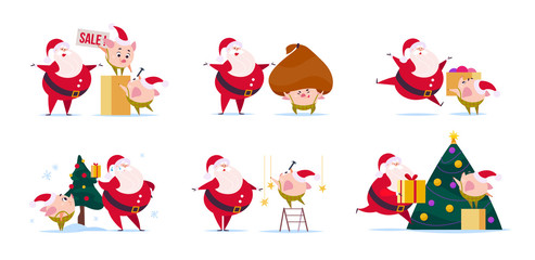 Vector flat illustration of funny Santa Claus character and cute little pig elf in santa hat isolated on white background. New year fir tree, gift box presents bag. Card, banner, web design, packaging