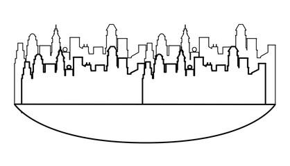 Cityscape scenery cartoon in black and white