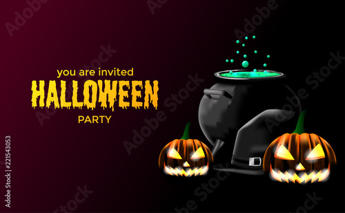 halloween party invitation with potion in the pot wizard hat and