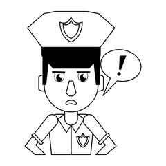 Police profile cartoon in black and white
