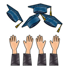 throwing hands graduation hats