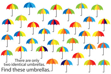 Find only two same umbrellas, fun education autumn puzzle game for children, preschool worksheet activity for kids, task for the development of logical thinking and mind, vector illustration