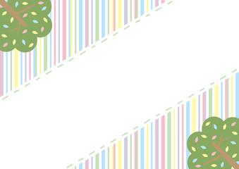 樹木 刺繍フレーム パステルカラーストライプ背景