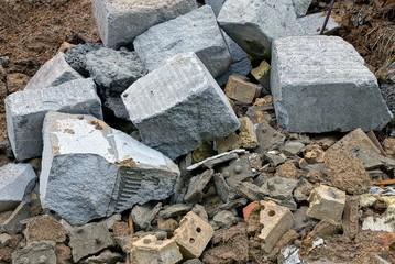 stone texture of garbage brown bricks gray concrete chunks