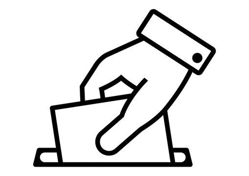 gz170 GrafikZeichnung - german - Abstimmung: Politik / Stimmzettel in Wahlurne einwerfen - english - vote: policy / voter is throwing ballot in ballot box - A3 A4 A5 - xxl g6569