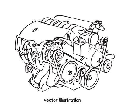 Vector sketch of car engine