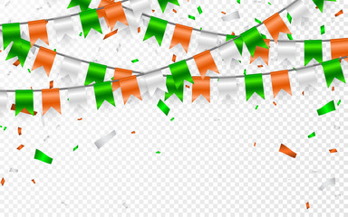 Flags Garland to St. Patrick's Day. Party background with flags garland. Garlands of orange white green flags and foil confetti. Vector illustration