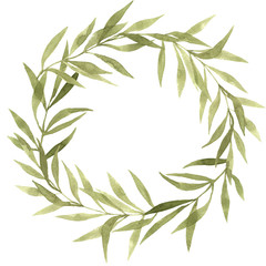 Olive watercolor wreath on white background handpainting