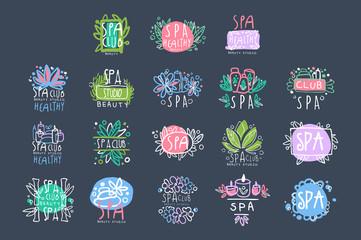 Spa beauty studio logo design set, badge for wellness, yoga center hand drawn vector Illustrations
