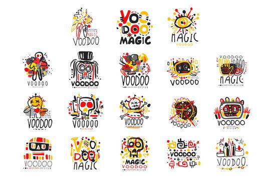 Voodoo African and American magic logo set