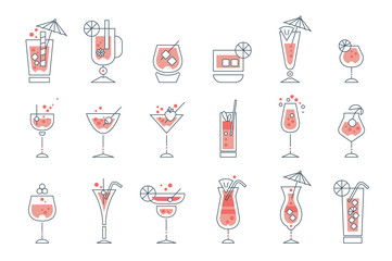 Set of alcoholic cocktails line art