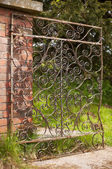 Vintage ornate wrought iron gate