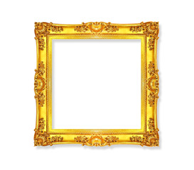 Golden antique vintage frame isolated on white background